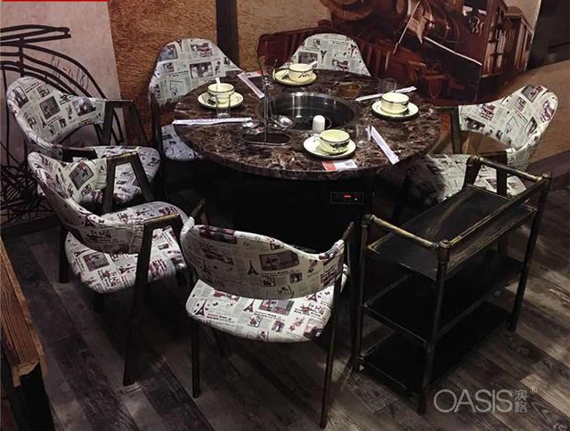 火锅桌椅,大理石火锅桌椅,餐厅家具厂家