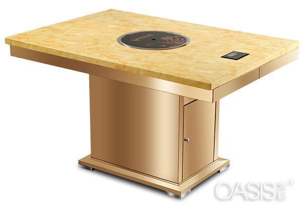 不锈钢桌脚大理石火锅桌子