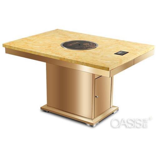 酒吧茶几最新款现代简约 不锈钢桌脚大理石火锅桌子