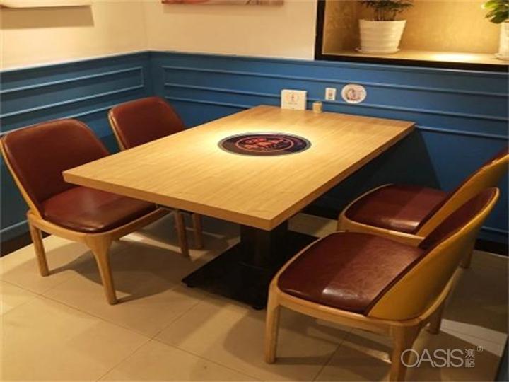 贴木皮火锅桌