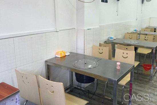 大理石四人位火锅桌,曲木弯板火锅椅