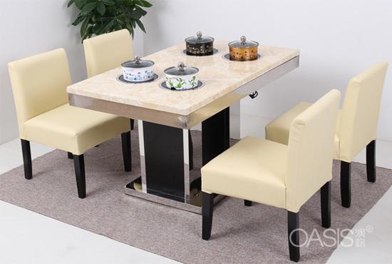 大理石四人位火锅桌实木椅